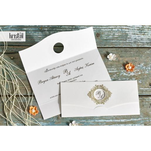 Invitatie de nunta eleganta crem cu auriu 70226 KRISTAL