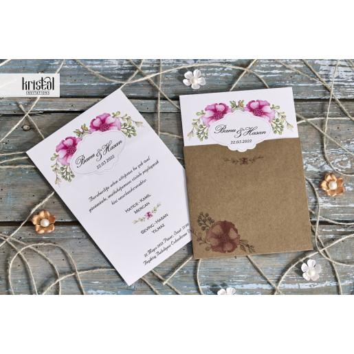 Invitatie de nunta vintage florala 70235 KRISTAL