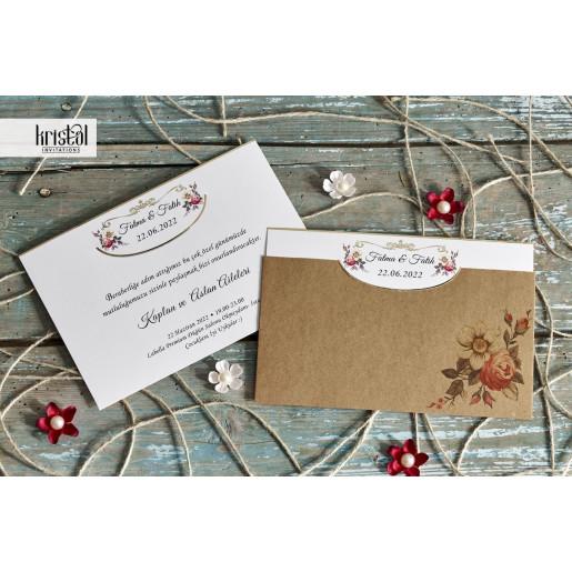 Invitatie de nunta vintage florala 70236 KRISTAL