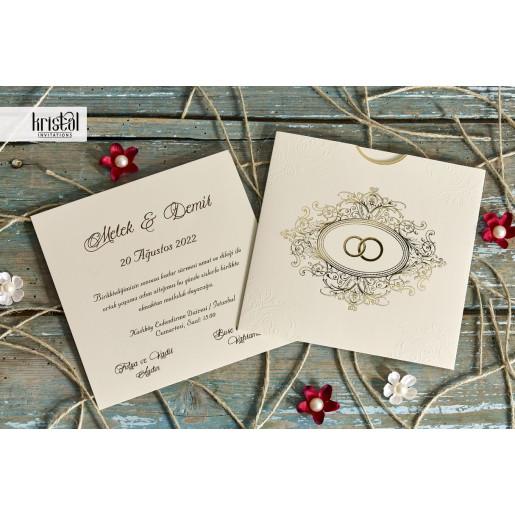 Invitatie de nunta eleganta cu verighete aurii 70242 KRISTAL