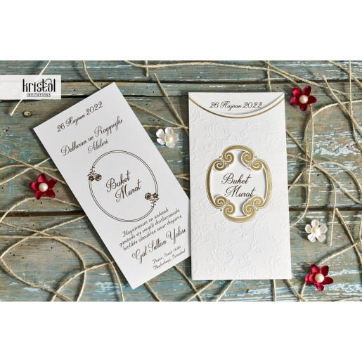 Invitatie de nunta model floral in relief cu auriu  70249 KRISTAL