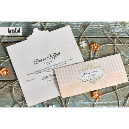 Invitatie de nunta piersica plic 70253 KRISTAL
