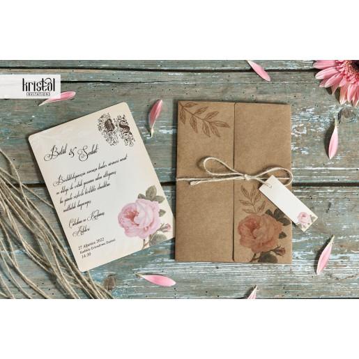Invitatie de nunta florala cu sfoara 70255 KRISTAL