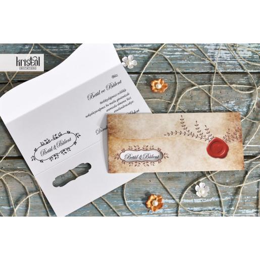 Invitatie de nunta tip plic vintage cu pecete 70257 KRISTAL