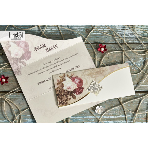 Invitatie de nunta plic vintage cu trandafiri 70261 KRISTAL