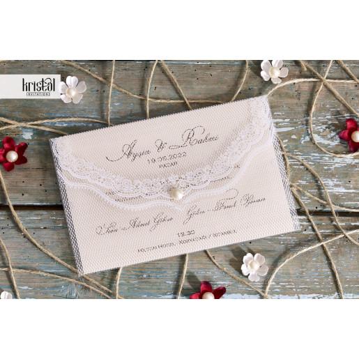 Invitatie de nunta plic plastic cu perla 70262 KRISTAL