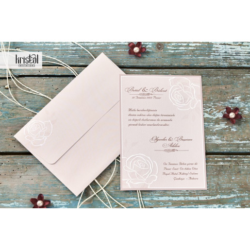 Invitatie de nunta florala cu trandafiri 70271 KRISTAL