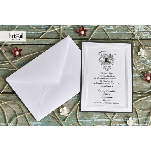 Invitatie de nunta clasica cu chenar 70274 KRISTAL