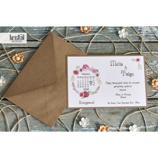 Invitatie de nunta florala cu calendar 70281 KRISTAL