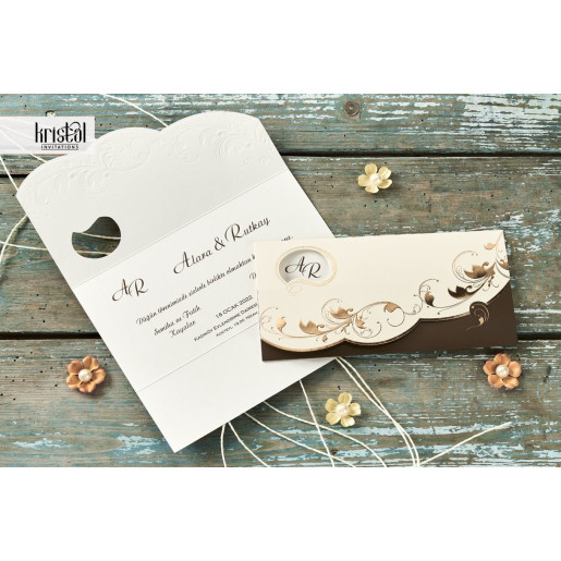 Invitatie de nunta florala tip plic maro si aramiu 70294 KRISTAL