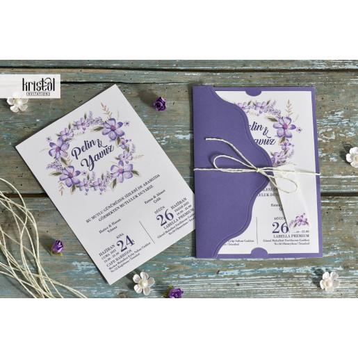 Invitatie de nunta violet florala cu fundita 70296 KRISTAL