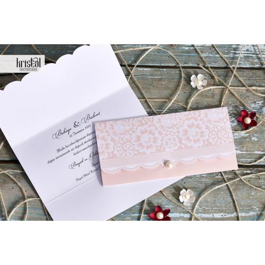 Invitatie de nunta dantelata somon cu perla 70297 KRISTAL