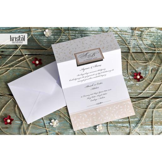 Invitatie de nunta florala cu chenar 70315 KRISTAL