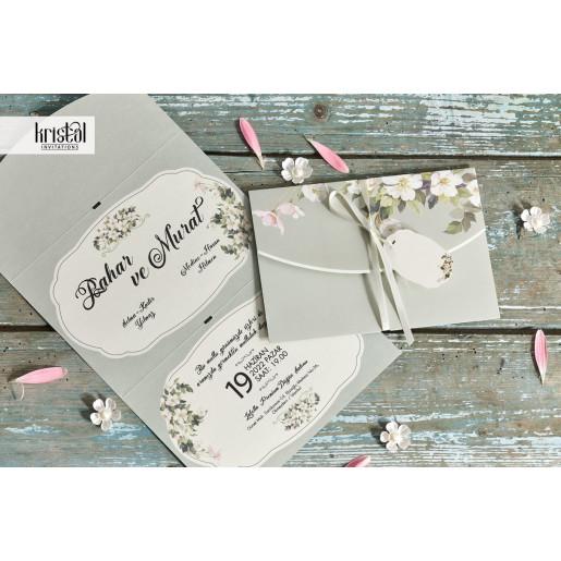 Invitatie de nunta olive florala cu fundita 70318 KRISTAL