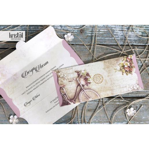 Invitatie de nunta tip plic florala cu bicicleta 70323 KRISTAL