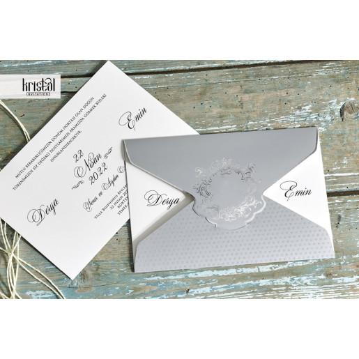 Invitatie de nunta gri tip plic 70327 KRISTAL