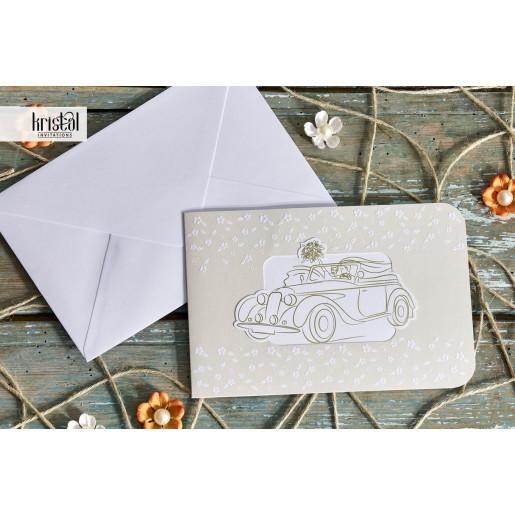 Invitatie de nunta florala haioasa cu masina 70334 KRISTAL