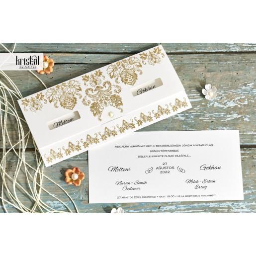 Invitatie de nunta florala cu sclipici auriu 70339 KRISTAL
