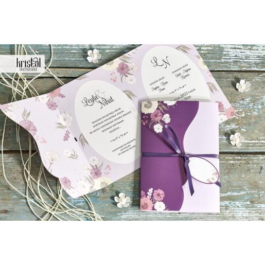 Invitatie de nunta florala mov cu fundita 70341 KRISTAL