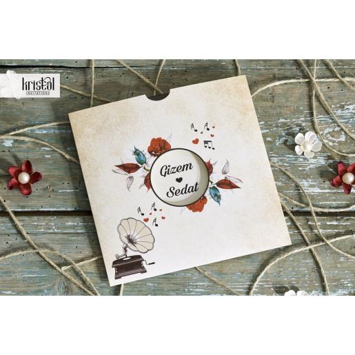 Invitatie de nunta vintage florala gramofon 70343 KRISTAL