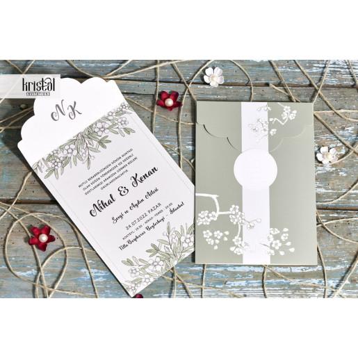 Invitatie de nunta ramura cu flori 70345 KRISTAL
