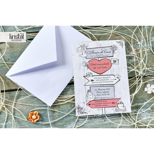 Invitatie de nunta vintage haioasa 70346 KRISTAL
