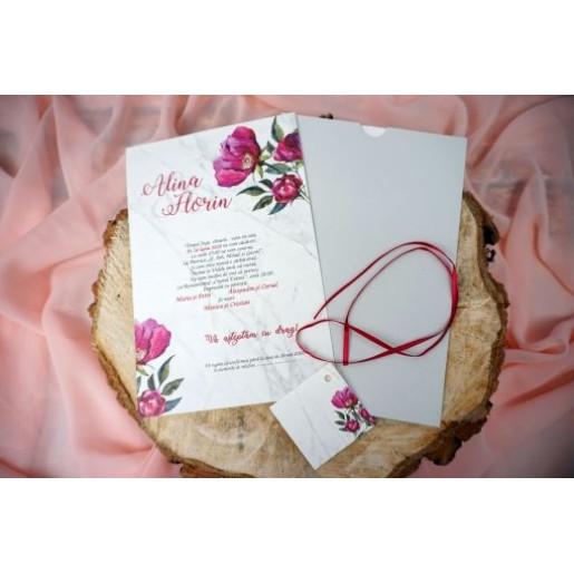Invitatie trandafiri pe marmura 74763 ELA