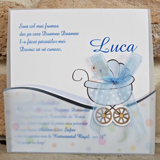 Invitatie de botez albastra cu carucior 8022 SEDEF