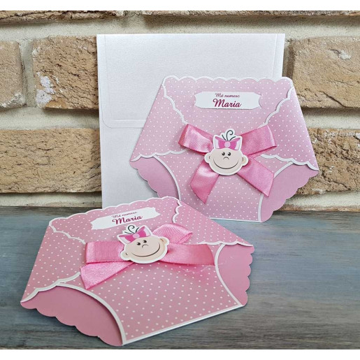Invitatie de botez scutec bebe roz 8025 SEDEF