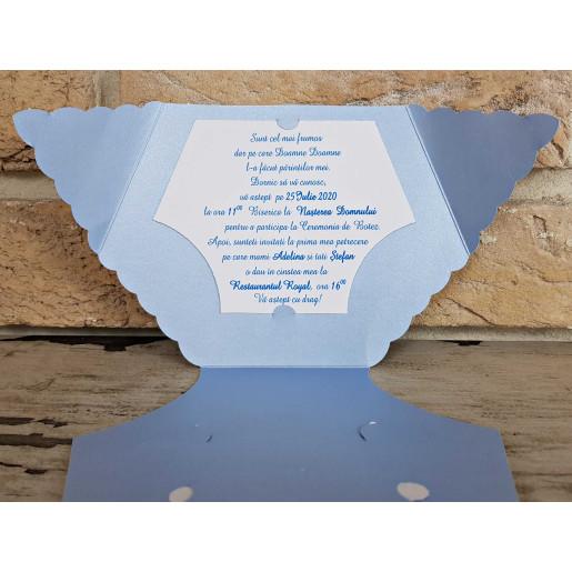 Invitatie de botez scutec albastru 8026 SEDEF