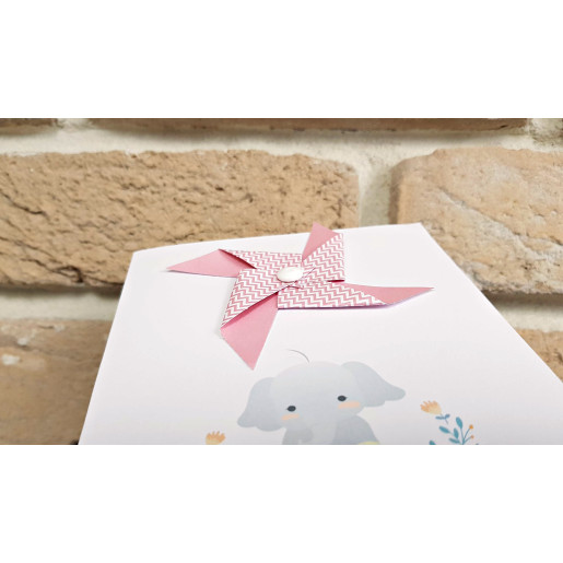 Invitatie de botez roz cu morisca si elefant 8028 BOTEZ