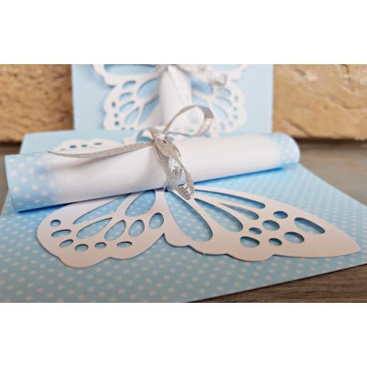 Invitatie de botez 3D albastra cu fluture 8032 SEDEF