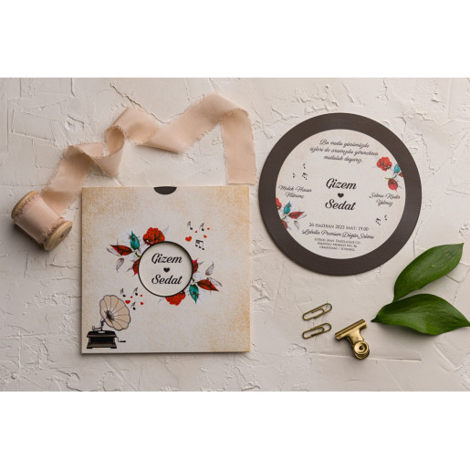Invitatie de nunta vintage gramofon 9112 EKONOM