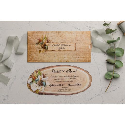 Invitatie de nunta buturuga rustica florala 9113 EKONOM