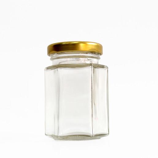 Borcan marturii 110 ml Hexagonal CH cu capac TO 48