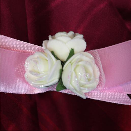 Bratara domnisoara de onoare roz cu flori albe