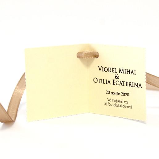 Eticheta - Card dublu perforat crem 90