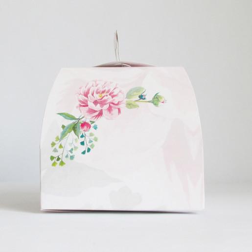 Cutie tort cu flori de bujori CN 1000
