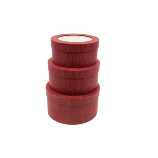 Cutie Carton Grena Rotunda cu Dunga Aurie la Geam 3/Set CTC140