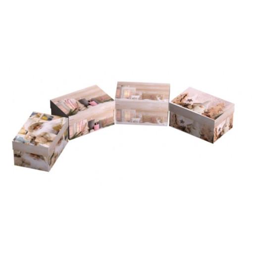 Cutie Carton Dreptunghiulara Bej Roz Craciun 12/Set CTC164