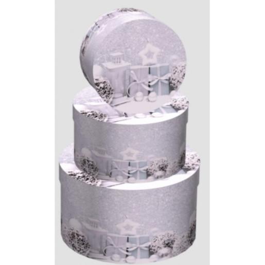 Cutie Carton Rotunda Gri Craciun 3/Set CTC174