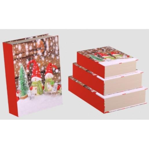 Cutie Carton Carte Rosu Craciun 3/Set 3/Set CTC182