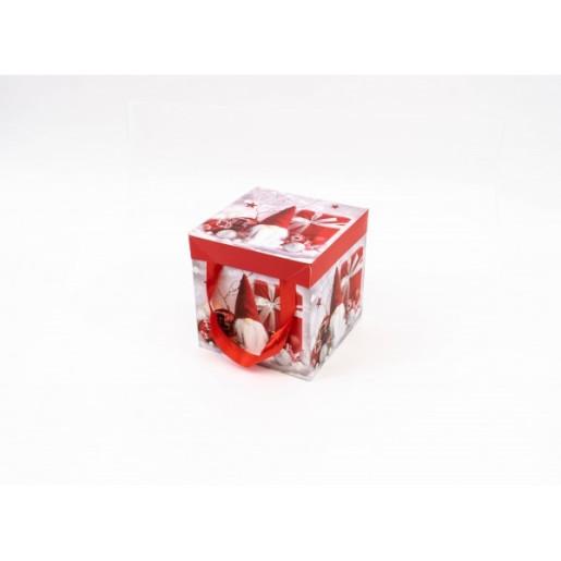 Cutie Carton Patrata Rosu-Gri Mos, CTC156
