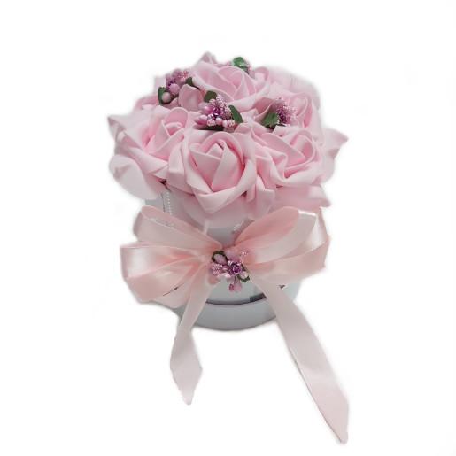 Aranjament Cadou de Masa Craciun cu flori roz DEC102