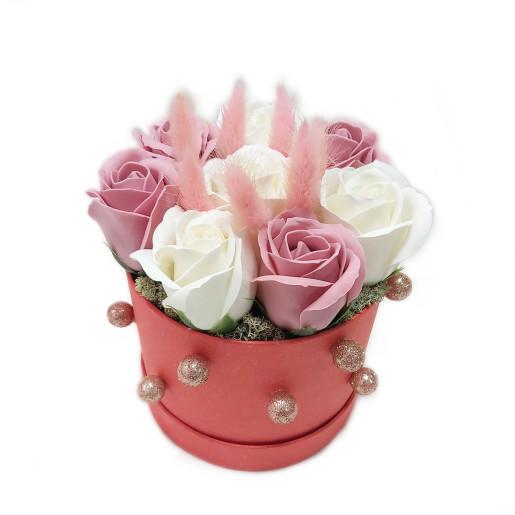 Aranjament Cadou Craciun cu Flori Parfumate de Sapun DEC151