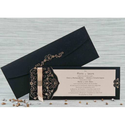 Invitatie de nunta crem cu negru cu model auriu 20419 POLEN