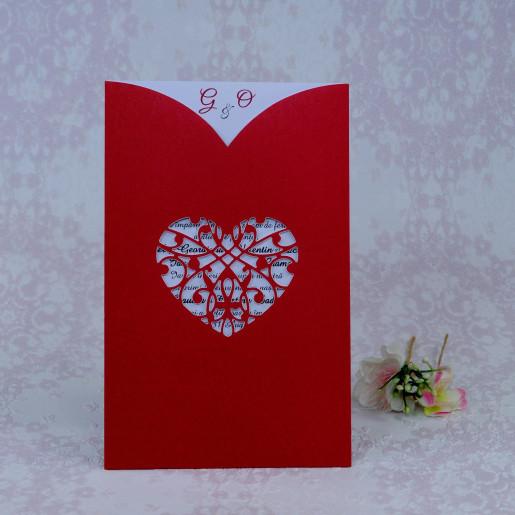 Invitatie de nunta rosie cu inima 2216 Polen