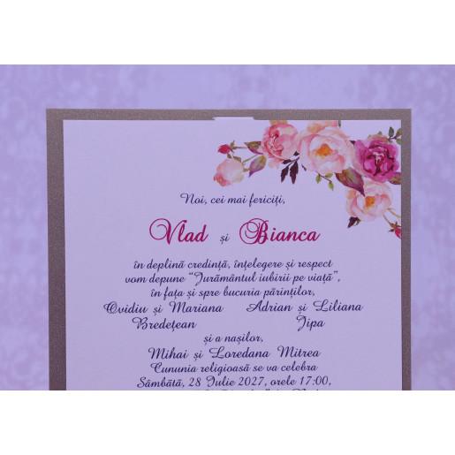 Invitatie de nunta florala crem 2217 POLEN