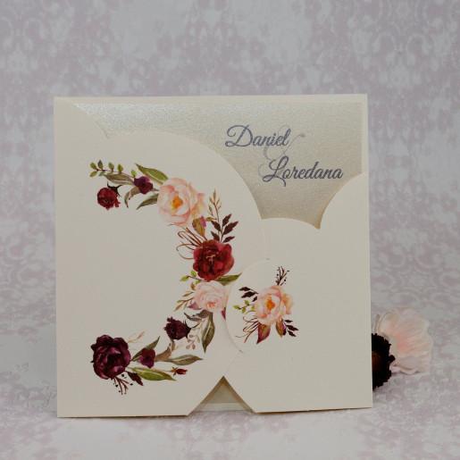 Invitatie de nunta model floral crem 2221 POLEN