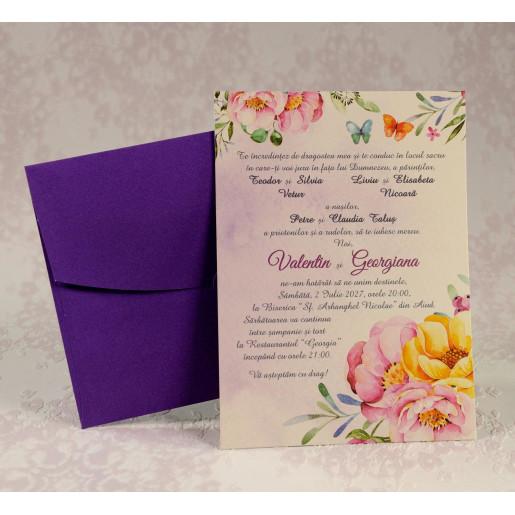 Invitatie de nunta florala cu plic mov 2210 Polen